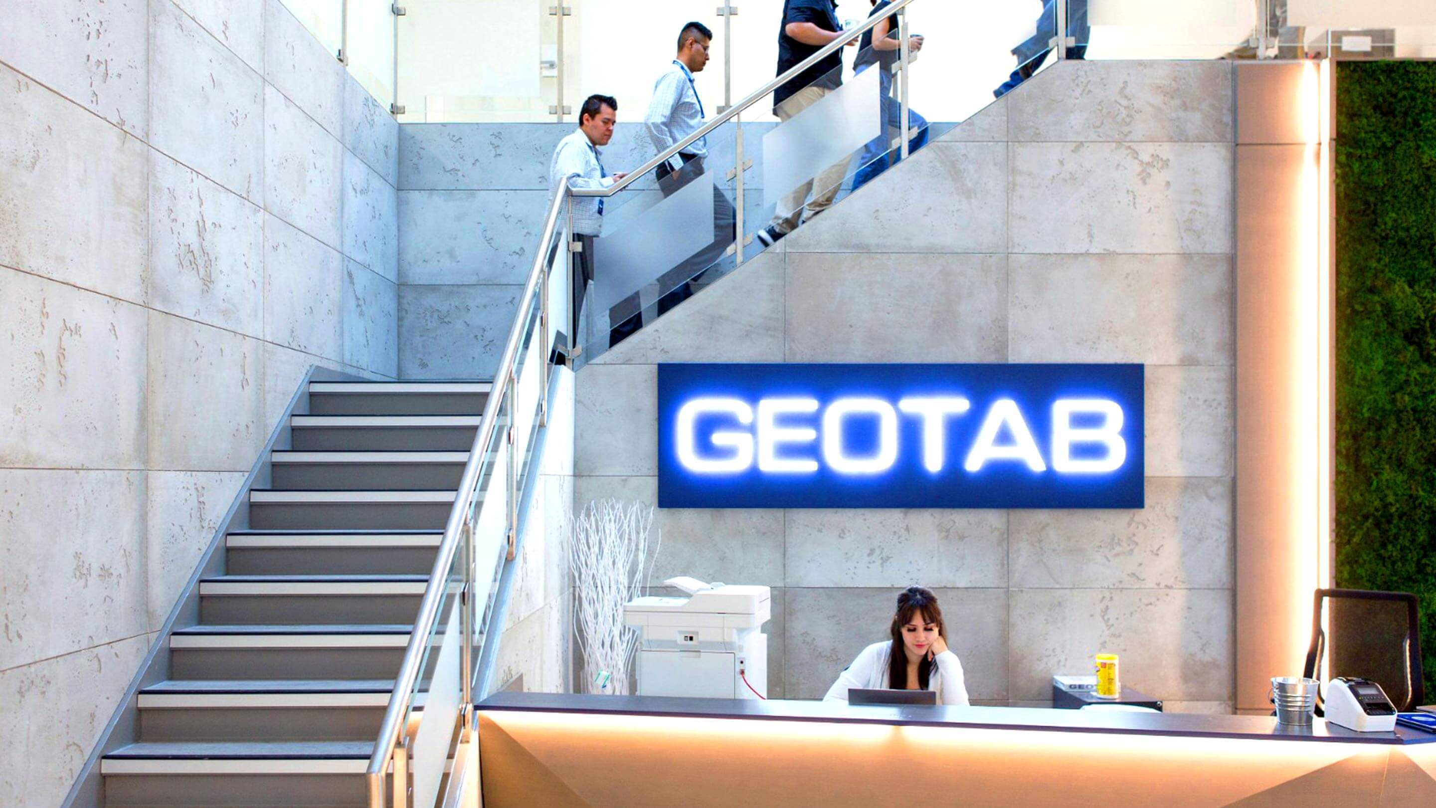 Geotab labelled large white office building